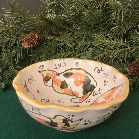 Small Fluted Bowl with Calico Cats, Roxanne Locy