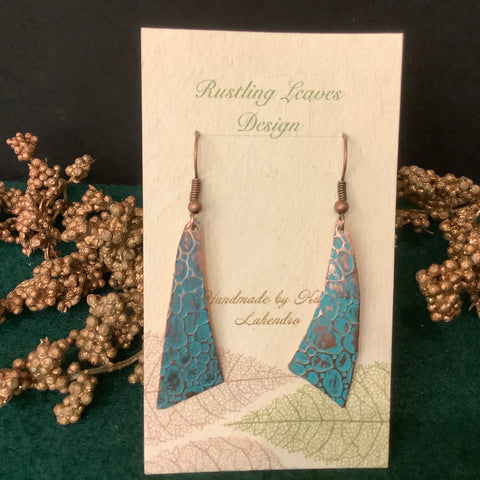 Stamped Copper Fan Shaped Earrings with Turquoise Patina , Kathy Lahendro, Potsdam, NY