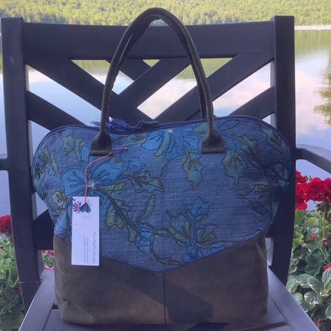 Travel Handbag in Blue Denim with Brown Velveteen, Tina Charbonneau, Lake Placid, NY