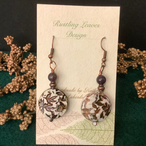 Small 3-D Round Clay Earrings Dark Brown with Carved Floral Design and Beads,  Kathy Lahendro, Potsdam, NY