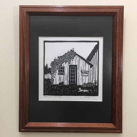 """Garden Shed"" Rubber Block Print  Framed and Matted, Johanna Kingsley, DeKalb Junction, NY"