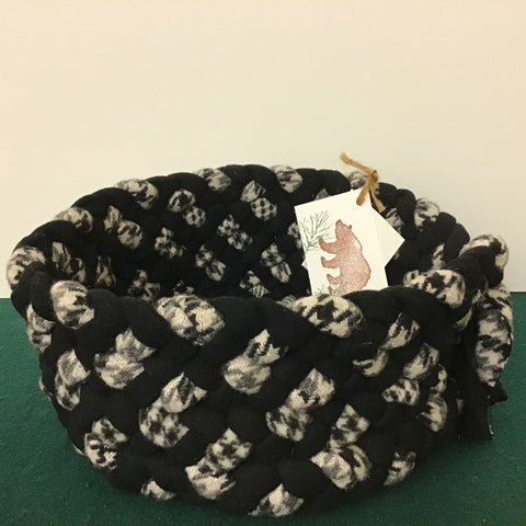 Braided Basket in Black and Gray Tweeds, Debbie Orland, Colton, NY