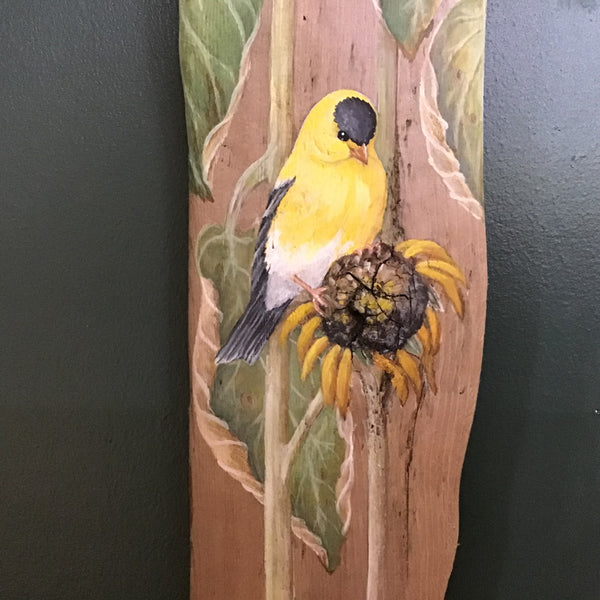 Driftwood Painting Goldfinches and Sunflowers