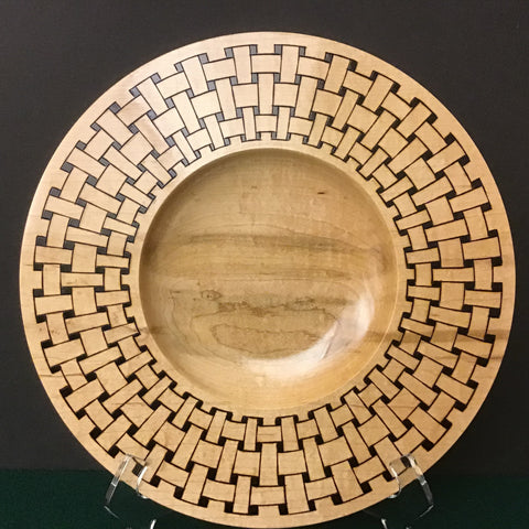 Plate Carved Basket Weave Pattern on Rim, David Buchholz, Augur Lake, Keeseville, NY