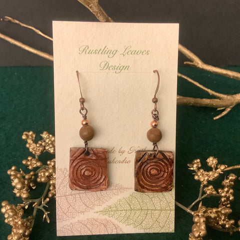 Small Brown Clay Square Earrings with Swirl Design,  Kathy Lahendro, Potsdam, NY