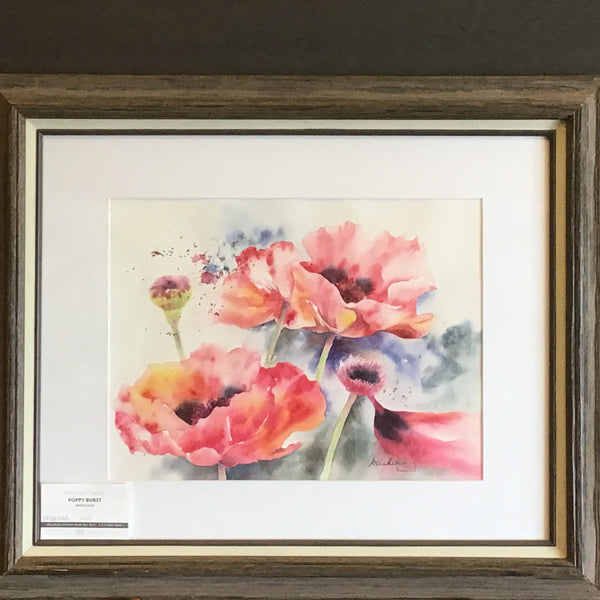 """Poppy Burst"", Signed Watercolor, Michiko Taylor, Potsdam, NY"