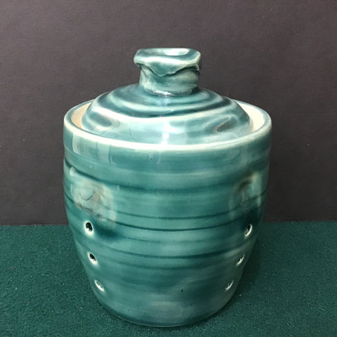 Garlic Keeper Jar in Teal with Square Finial, Joanne Arvisais, Plattsburgh, NY