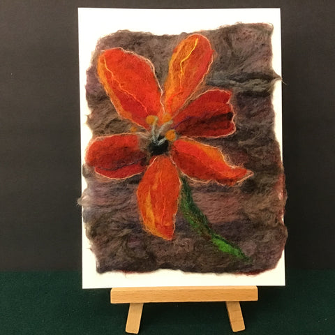 "Hand Felted Card ""Orange Daylily"", Kathy Montan, Canton, NY"