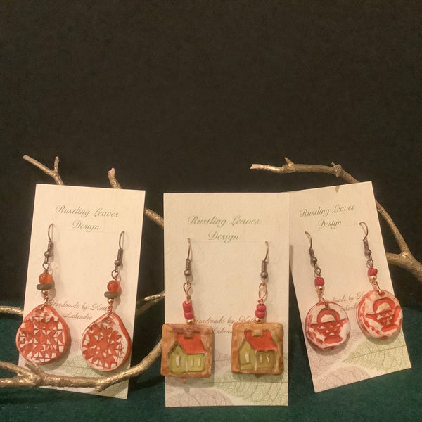 Assorted Clay Earrings, Kathy Lahendro, Potsdam, NY