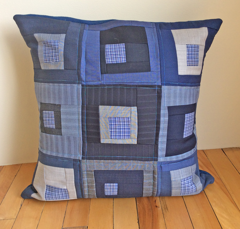 Blue, black and gray wool pillow cover