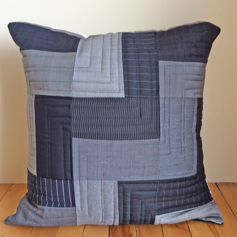 Black and gray wool pillow cover
