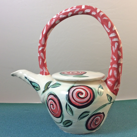 Teapot white with red swirl flowers