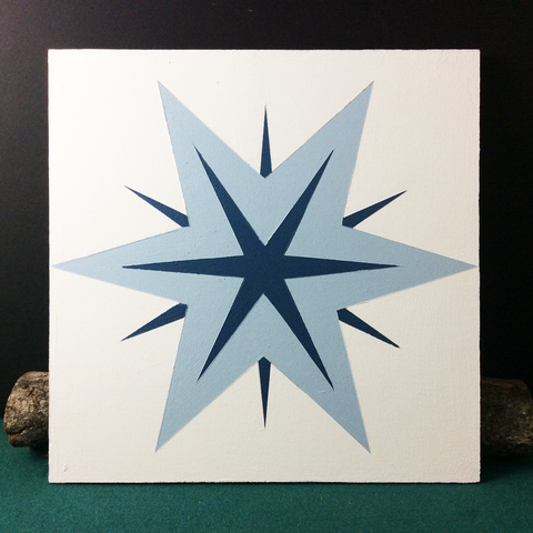Small Barn Quilt Star Snowflake Pattern 1' X 1'