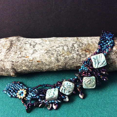 Wide Beaded Bracelet with Hand Made Ceramic Squares and Glass Button, Mary Harding