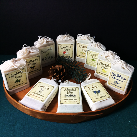 Natural Herbal Soap 4oz bar, Bluebird Candle Company, Lowville, Assorted Fragrances
