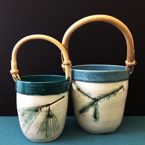 Pottery Basket with Bamboo Handle, Anne Burnham, Parishville, NY