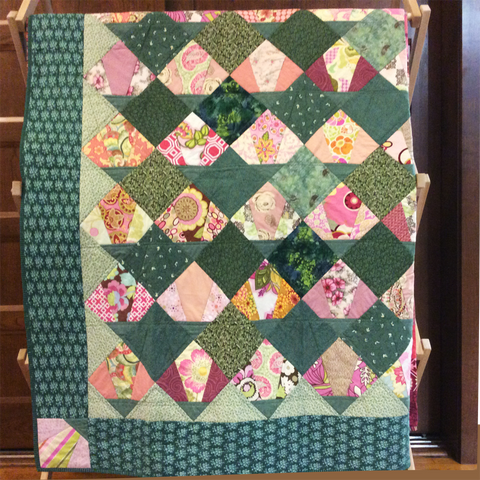 """Waterlilies"" large throw or short twin quilt"