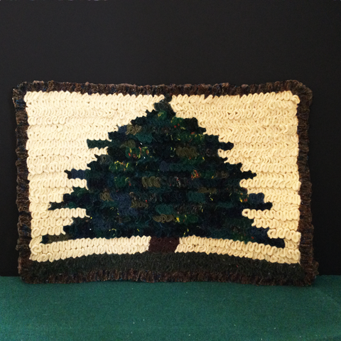 Shirret Woolen Mat Evergreen Tree, Francine King, Cape Vincent, NY