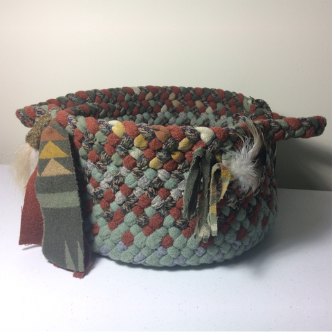 Green and Rust Braided Basket