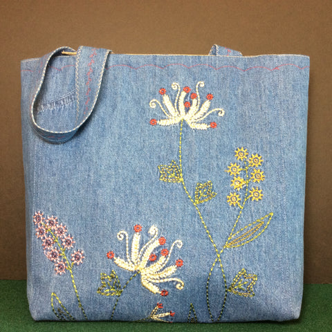 Tote Bag, Blue Denim with Embroidered Flowers