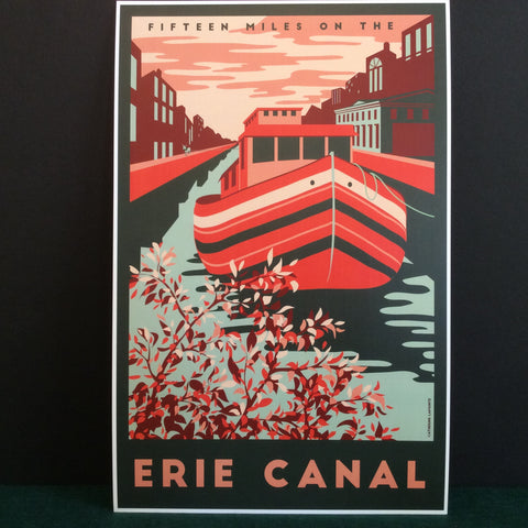 Vintage Travel Poster Erie Canal, Catherine LaPointe, Potsdam, NY