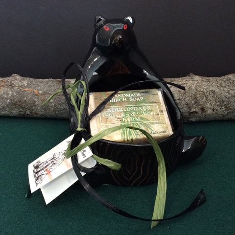 Black Bear Soap Dish with Handmade Birch Soap