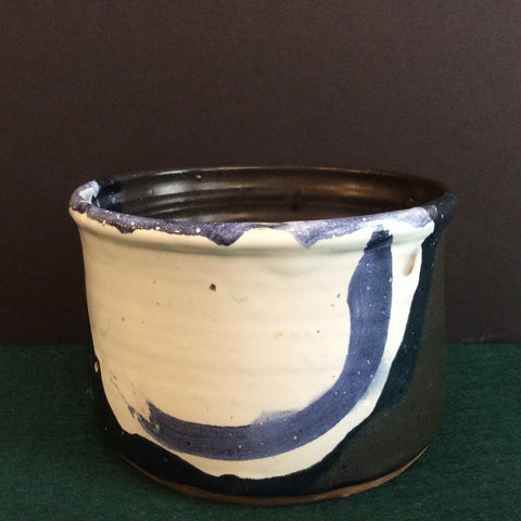 Oval Crock in White and Dark Blue Glazes