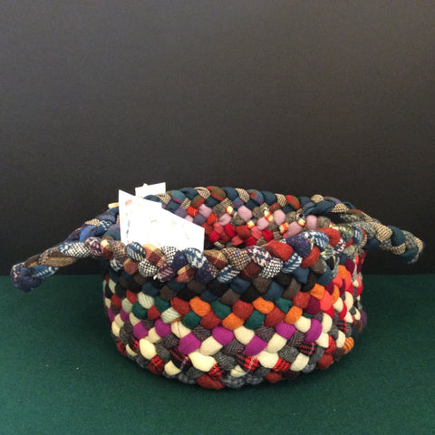 Medium Braided Basket in Multi Colors, Debbie Orland, Colton, NY