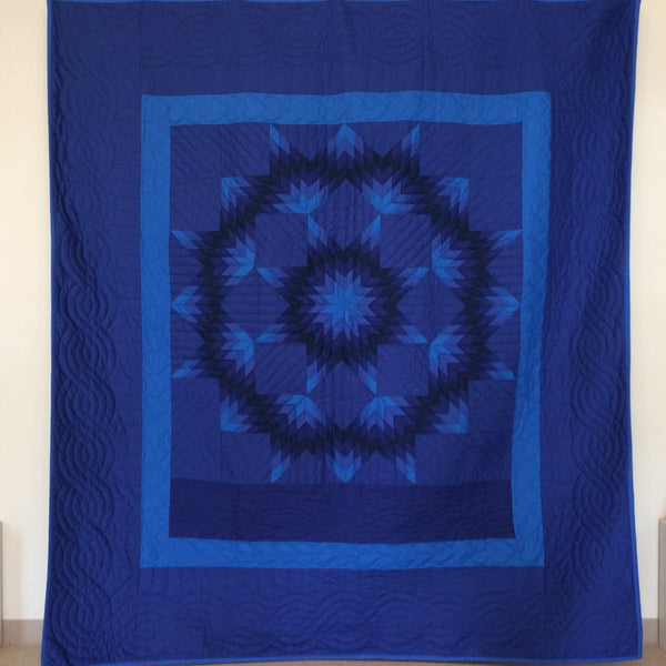 "Amish Quilt, ""Broken Star"", Shades of Blue, Lizzie Swartzentruber, De Peyster, NY"