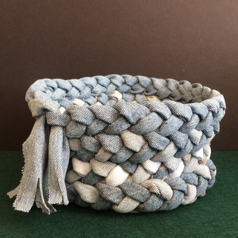 Braided Basket in Blue Denims, Debbie Orland, Colton, NY
