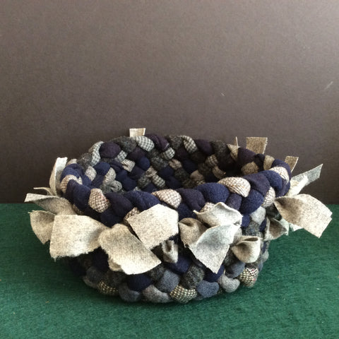 Braided Basket in Blues and Grays, Debbie Orland, Colton, NY