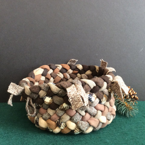 Braided Basket in Browns with Decorative Tabs, Debbie Orland, Colton, NY