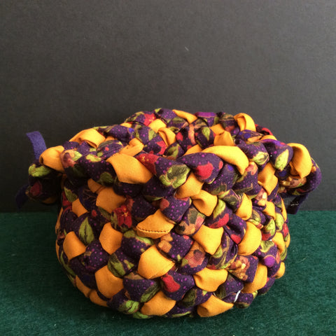 Small Braided Basket in Orange, Purples and Greens , Debbie Orland, Colton, NY