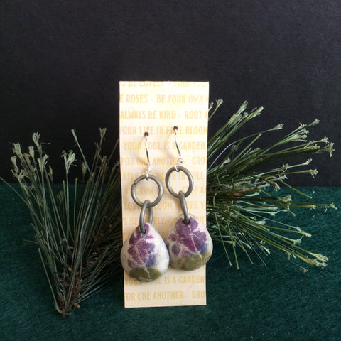 """Boho"" Earrings, Purple Iris Design with Double Rings, Maria Pedroso-Parker, Gouverneur, NY"