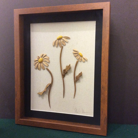 Daisies Wall Sculpture in Shadowbox Frame, Gene Newman, Canton, NY