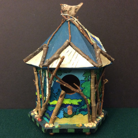 Rustic Handmade, Hand Painted Decorative Birdhouse, Lynne Taylor, Merrill, NY