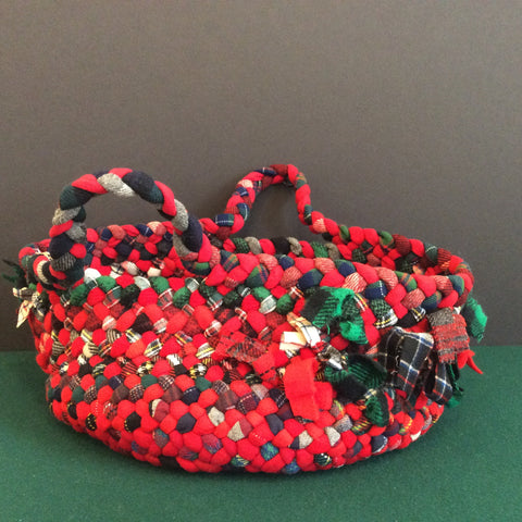 Large Braided Basket in Red, Green, Black and White,Debbie Orland, Colton, NY