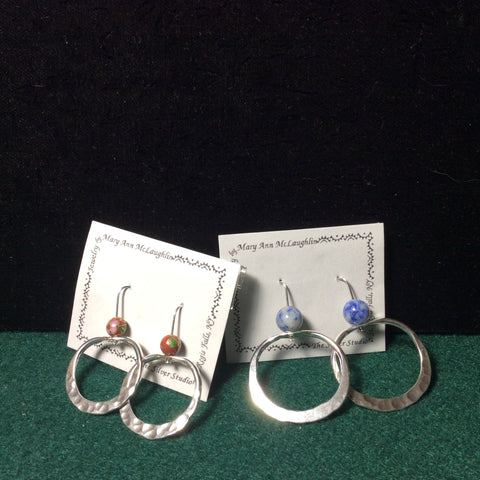 Silver Hammered Hoops with Stones
