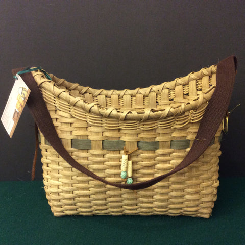 Carrier Basket with Sage Details and Beads, Sue Ulrich, Boonville