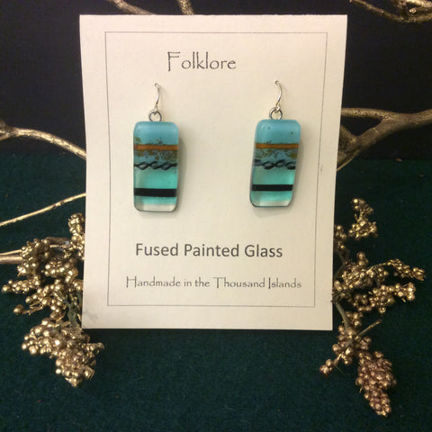 """Folklore"" Hand made, hand Painted glass earrings, Mary Mitchell, Alexandria Bay, NY"
