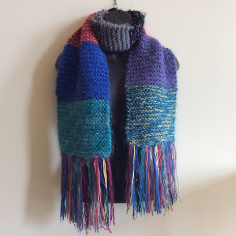 Wool/Mohair Patchwork Knitted Scarf, Iris Anabel, Potsdam, NY