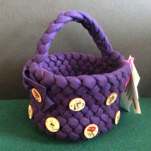 Braided Wool Basket Purple with Handle and Wood Buttons, Debbie Orland, Colton, NY