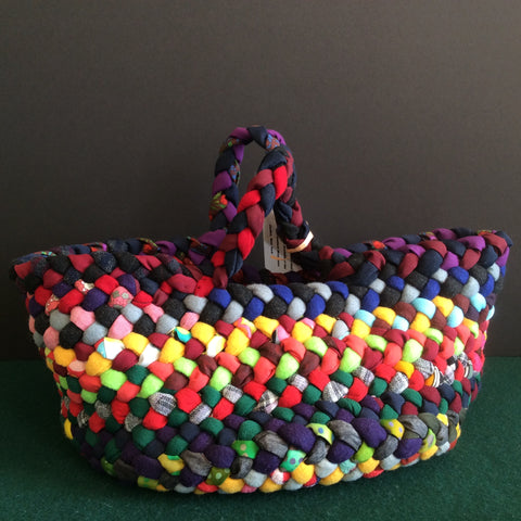 Large Braided Basket in Bright Colors, Debbie Orland, Colton, NY