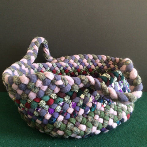 Large Braided Basket in Purples and Grays, Debbie Orland, Colton, NY