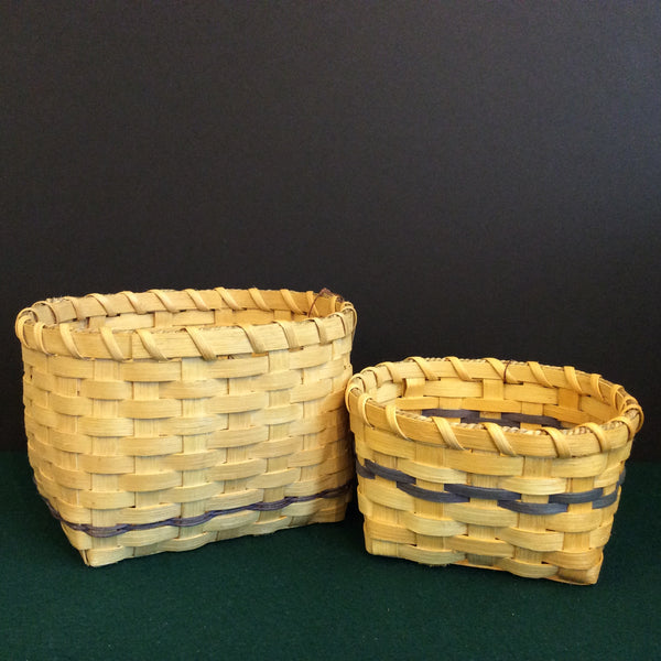 Assorted Oval Baskets with Blue Trim, Mountain Weavers' Guild, Port Henry, NY