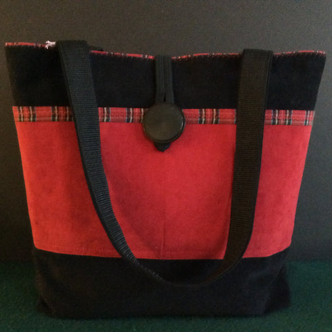 Tote Bag, Black and Red Suede, with Plaid Decorative Detail