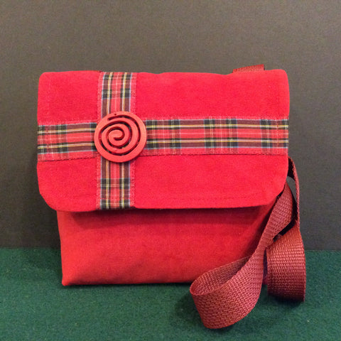 """Totally Hip"", Small Crossbody Bag, Red with Plaid Design and Red Swirl Button"
