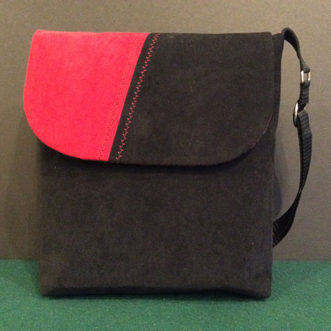 """Totally Hip"", Large Crossbody Bag, Black and Red Suede"