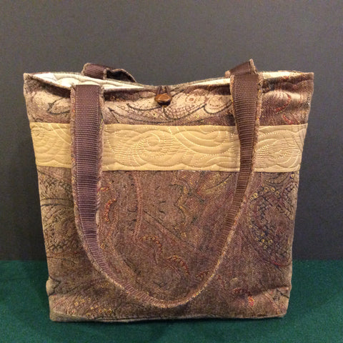 Tote Bag Tapestry, with Light Brown Tweed Back Panel