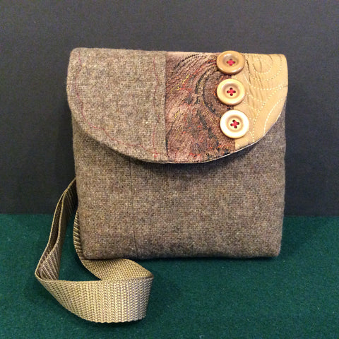 """Totally Hip"", Small Crossbody Bag, Light Brown Tweed with Tapestry Flap and Buttons"